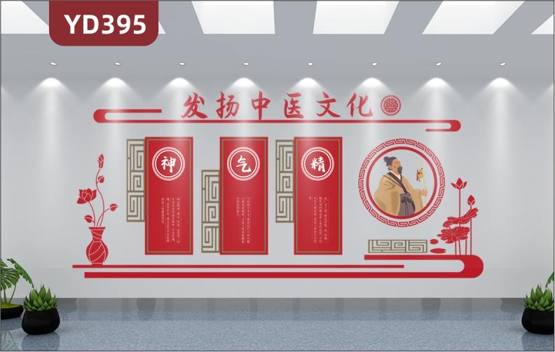 弘扬中医文化发扬国药精粹知识挂图中医院诊所形象布置3D立体墙贴挂画