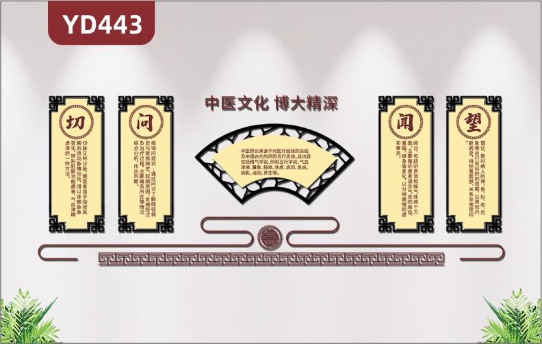 中医文化博大精深扇形中医文化墙望闻问切养生文化展板3D立体装饰