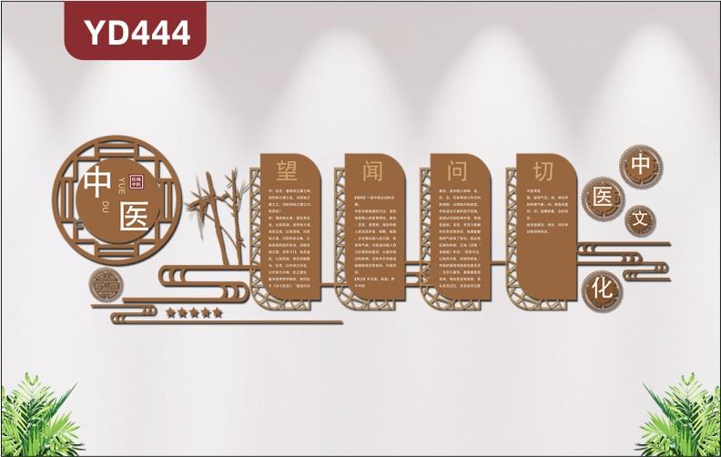 中医馆文化墙定制设计养生馆医院背景墙望闻问切3d立体亚克力墙贴