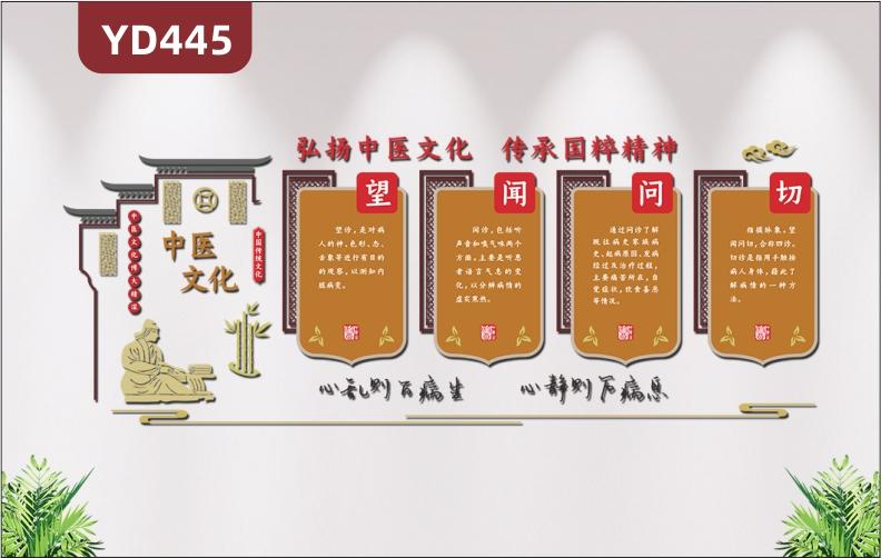 中医文化屋檐古典风中医文化墙养生望闻问切文化3D立体布置展板墙贴