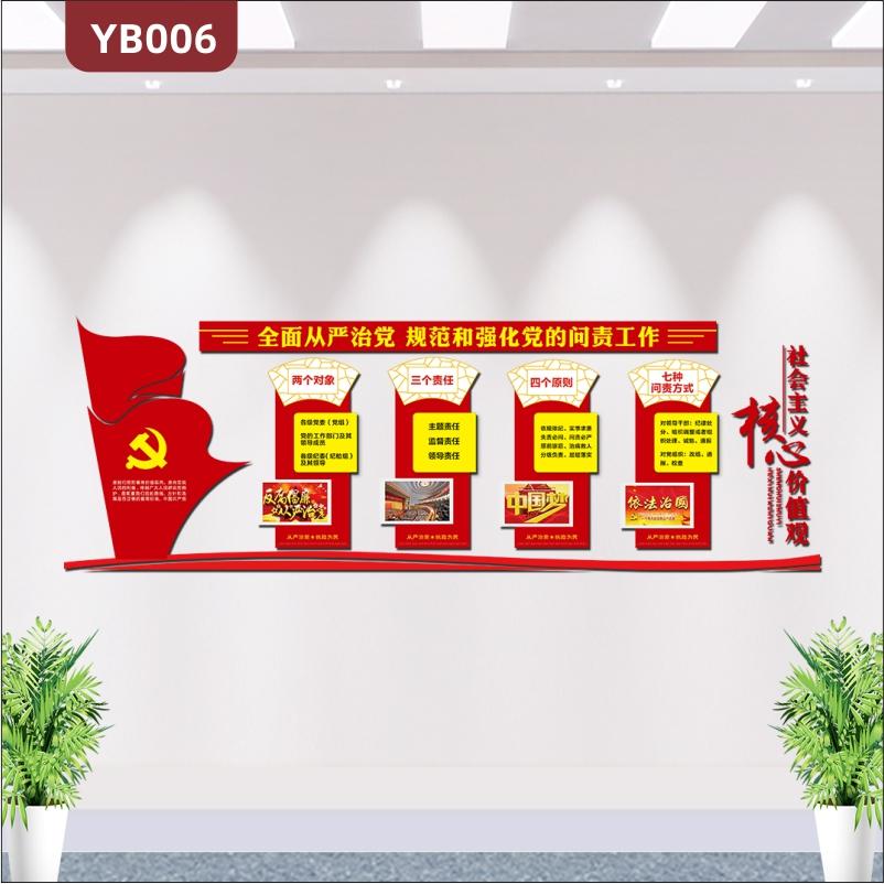 3D立体党建文化墙展板两个对象三个责任四个原则从严治党办公室会议室布置墙贴
