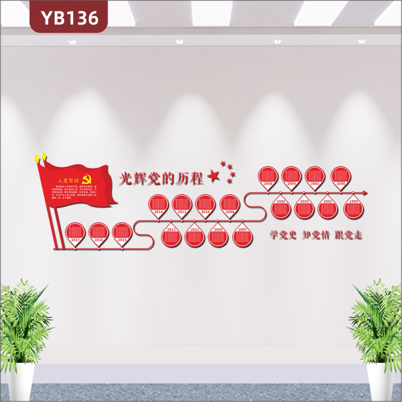 党史光辉历程党支部党建文化墙党员活动之家3D立体亚克力装饰墙贴