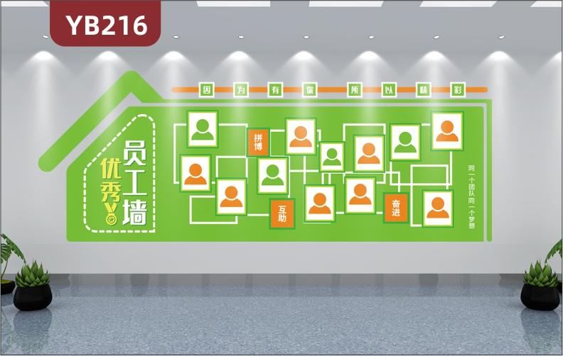 定制3D立体小清新优秀员工风采照片墙贴企业公司办公室形象装饰贴