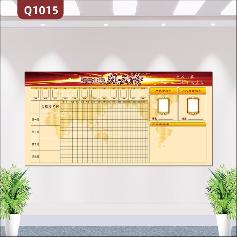 定制公司企业文化销售业绩风云榜PK榜办公室会议室宣传背景墙墙贴