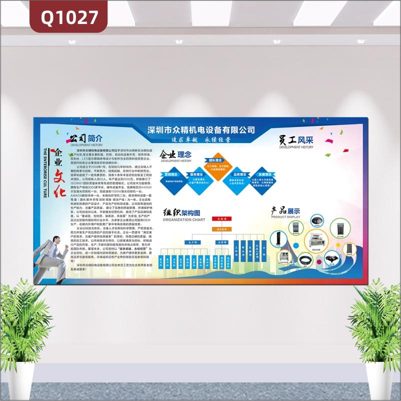 定制企业文化墙公司简介文化理念组织构架员工风采展示磁性墙贴画