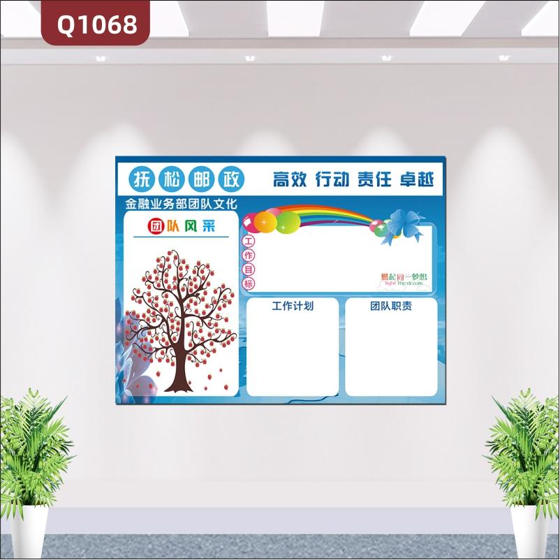 定制企业文化墙公司团队风采工作目标团队职责公告栏办公室形象墙贴