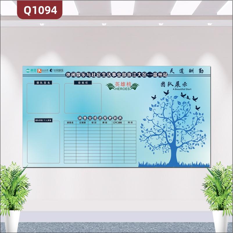 定制企业告示栏天道酬勤英雄榜团队签名目标栏团队荣誉业绩进度更新表大树团队展示墙贴