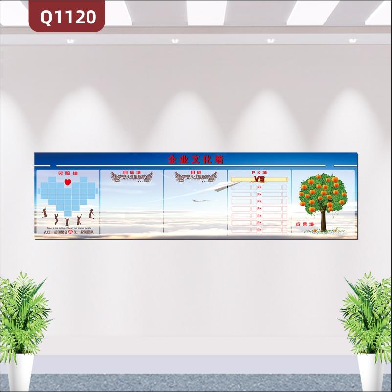 定制企业文化墙心型笑脸墙翅膀目标墙PK榜硕果满满大树成果墙展示墙贴