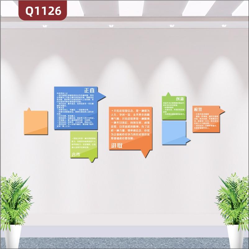 定制企业文化墙正直合作进取创新极致立体雕刻励志标语简约展示墙贴