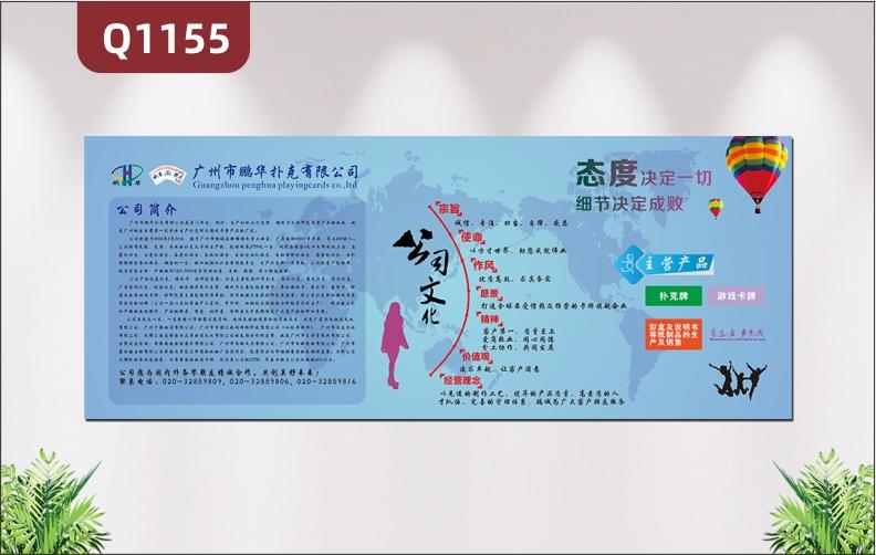 定制简约版企业文化墙公司简介公司文化公司主营产品介绍形象展示墙贴