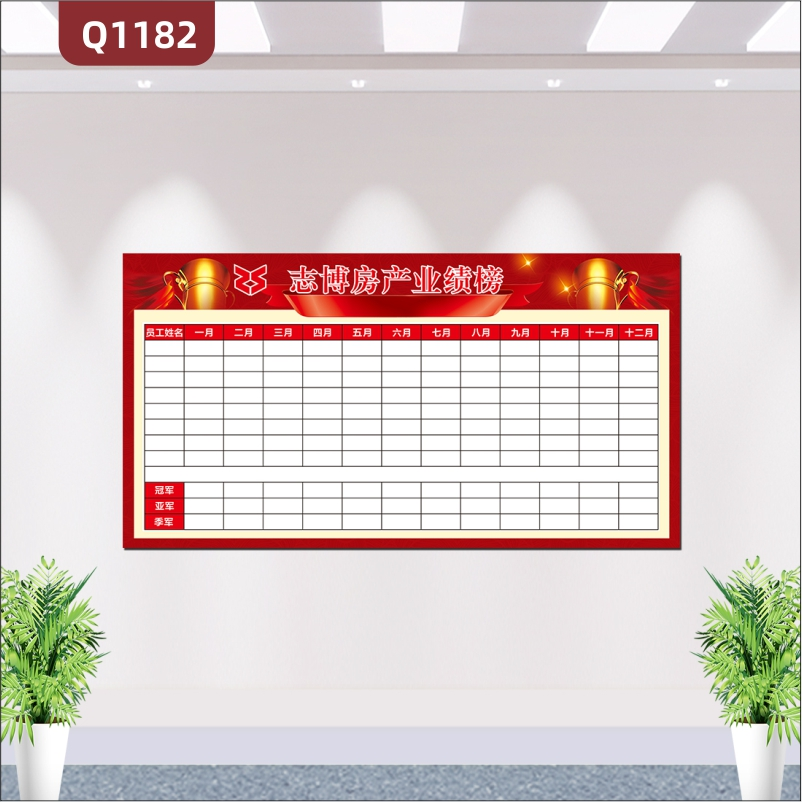 定制企业文化墙业绩榜企业LOGO企业名称每月月度员工榜单展示墙贴