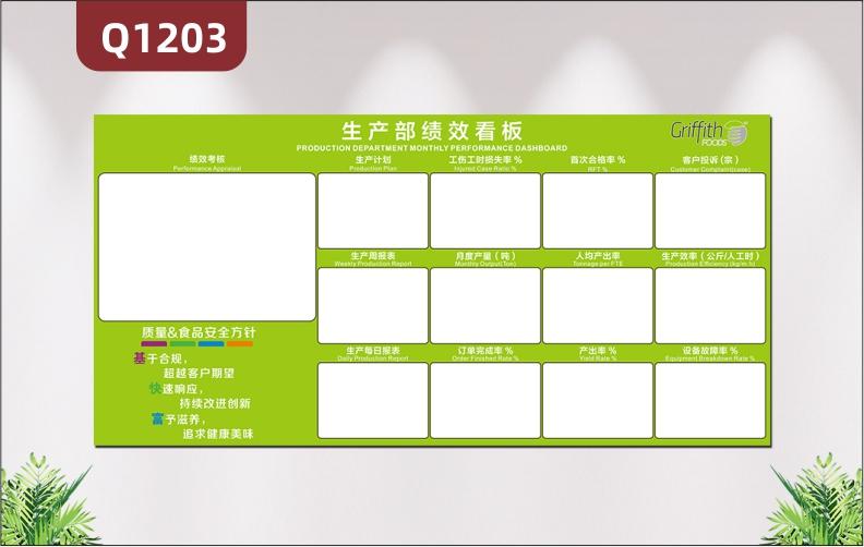 定制企业文化墙绩效看板企业LOGO企业名称绩效考核生产计划企业方针展示墙贴