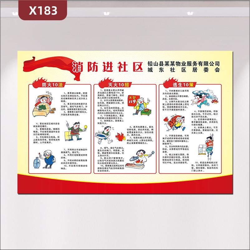 定制消防进物业社区文化展板优质KT板防火10法灭火10招逃生10策