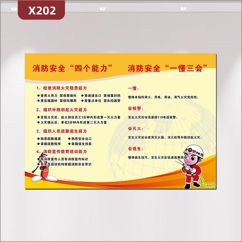 定制企业消防安全四个能力消防安全一懂三会文化展板优质KT板企业通用