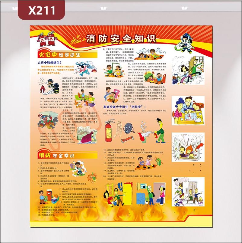 定制消防安全知识文化展板火灾中如何逃生消防安全常识家庭应备火灾逃生四件宝
