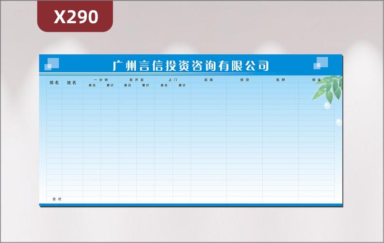 定制金融企业业绩榜企业名称企业LOGO排名姓名放款借贷抵押佣金合计展示墙贴
