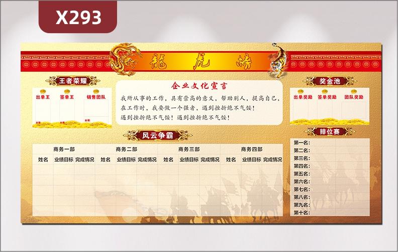 定制企业龙虎榜企业文化宣言王者荣耀奖金池风云争霸排名赛展示墙贴
