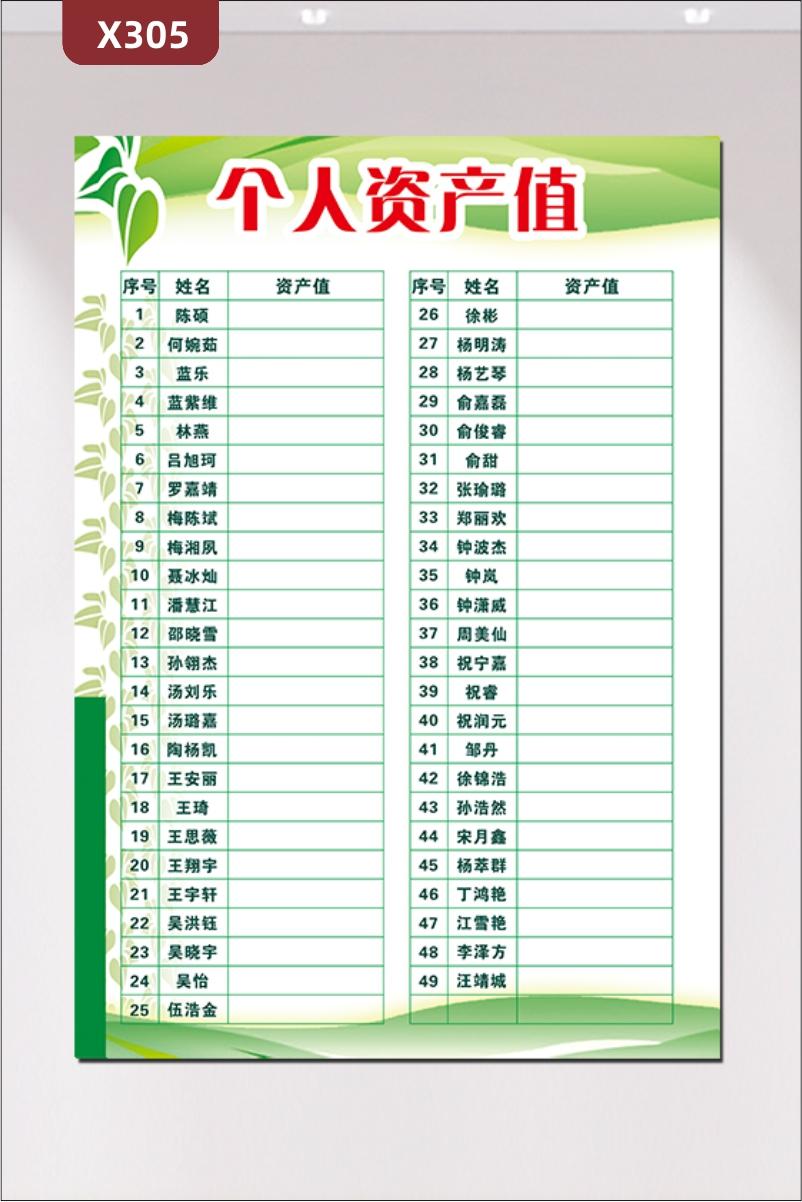 定制个人资产值榜单文化展板优质PVC板序号姓名资产值风格简约展示墙贴