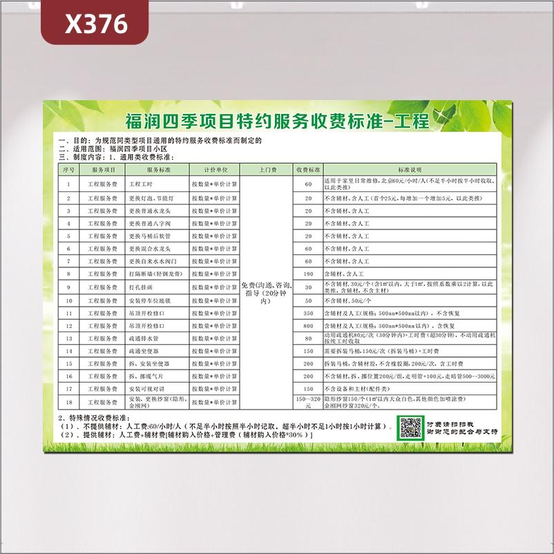 定制工程服务收费标准一览表文化展板优质PVC板服务标准服务项目计价单位收费标准标准说明