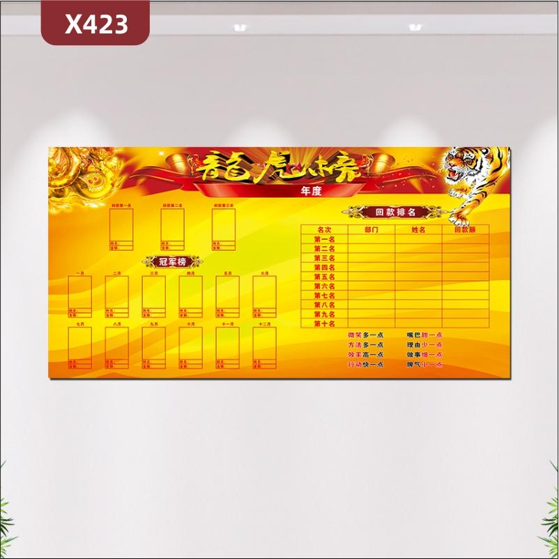 定制企业龙虎榜每月冠军榜回款排名红黄色风格奢华企业通用展示墙贴