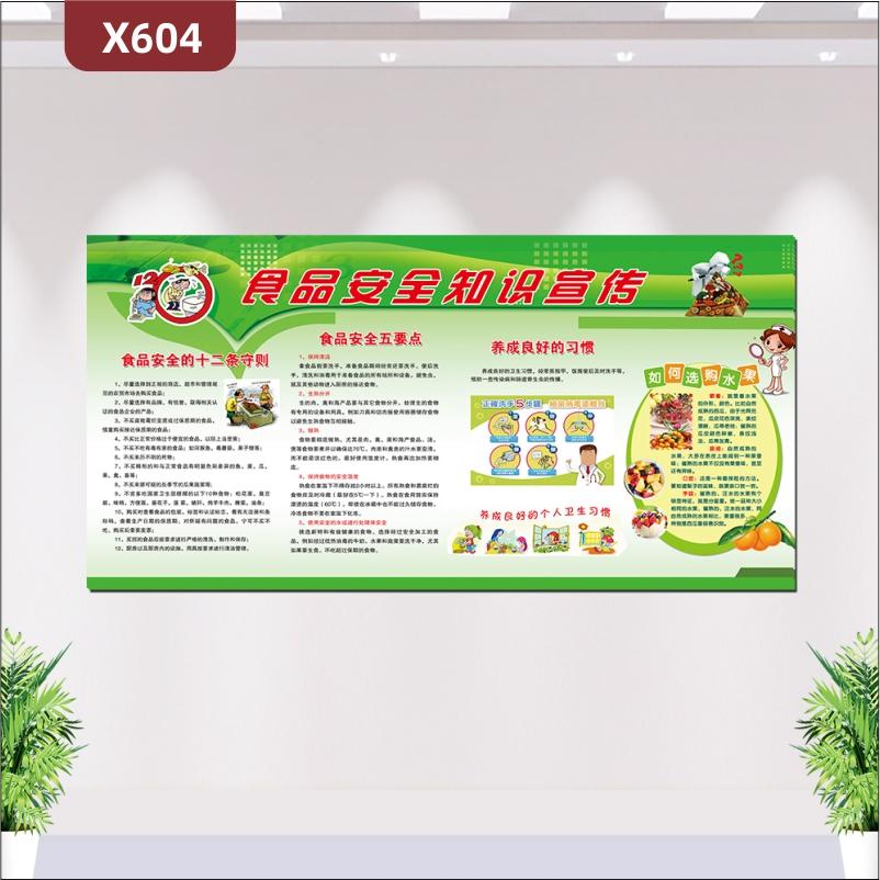 定制食品安全知识宣传文化展板优质PVC板食品安全的十二条守则食品安全五要点养成良好的习惯展示墙贴