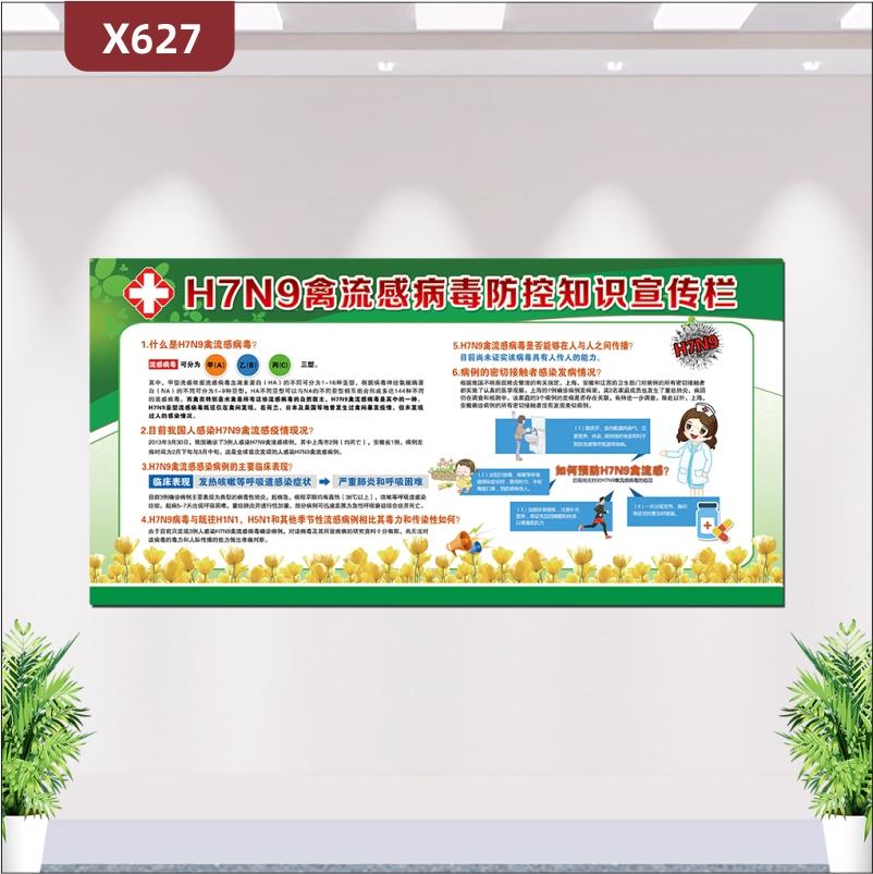 定制H7N9禽流感病毒防控知识文化宣传栏什么是禽流感病毒禽流感感染病例的主要临床表现展示墙贴