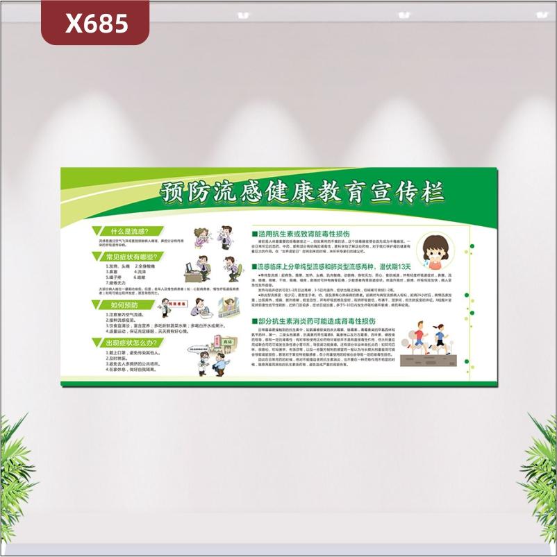 定制公益宣传预防流感健康教育宣传栏文化展板常见流感症状如何预防部分抗生素消炎药可能造成肾素性损伤展示墙贴