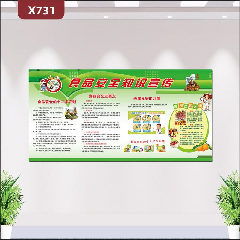 定制食品安全知识宣传栏食品安全的十二守则食品安全五要点养成良好的习惯展示墙贴