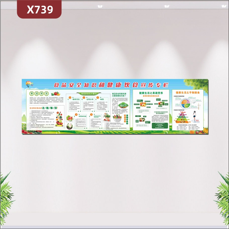 定制食品安全知识和健康饮食宣传栏文化展板食品安全注意事项健康生活之果蔬营养展示墙贴