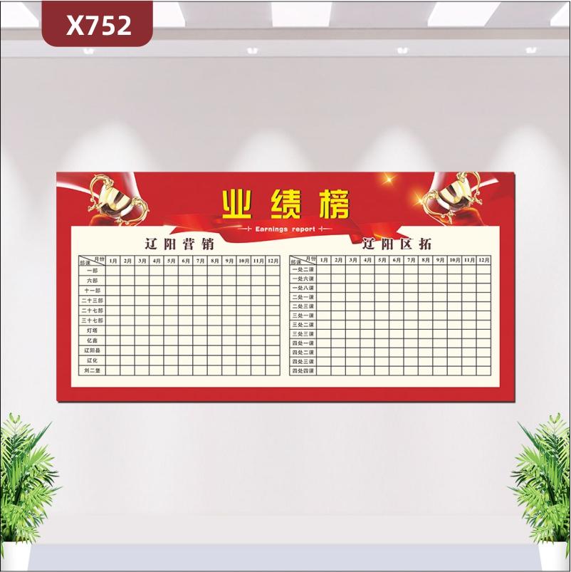 定制简约版企业通用业绩榜部办公室通用优质印刷贴门名称月份展示墙贴