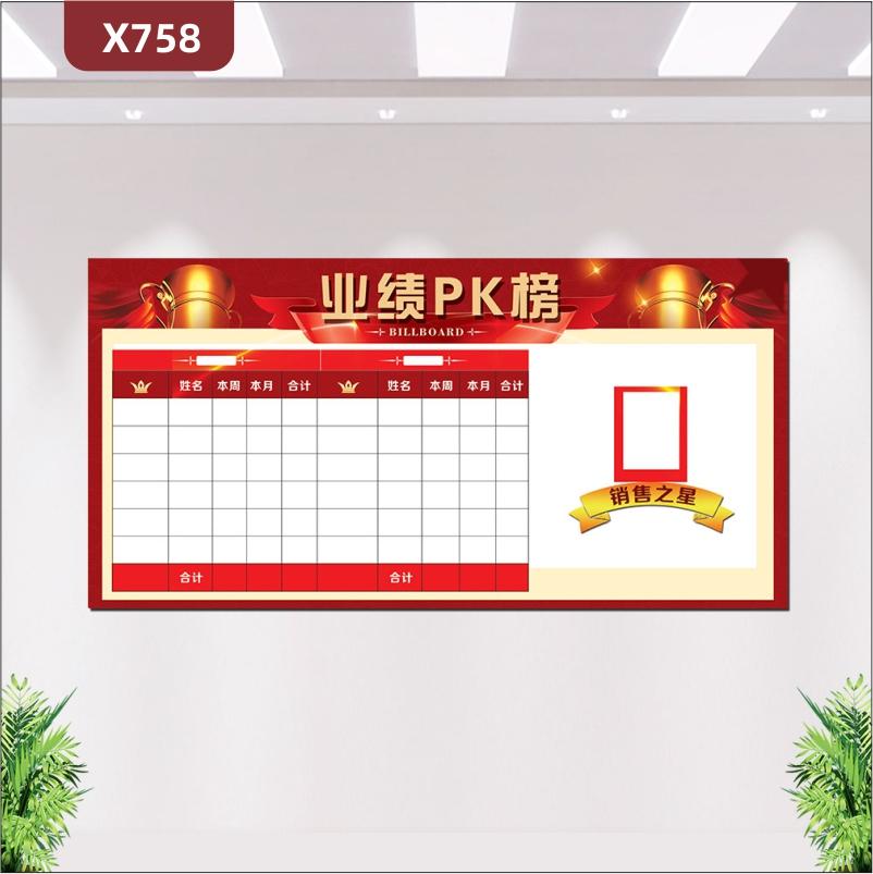 定制大气中国红业绩PK榜优质印刷贴姓名本周本月合计销售之星照片展示墙贴