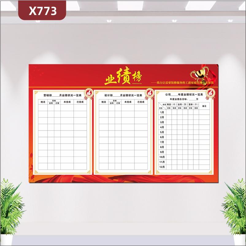 定制中国红企业通用业绩榜优质印刷贴企业愿景部门名称姓名目标未完成已完成展示墙贴
