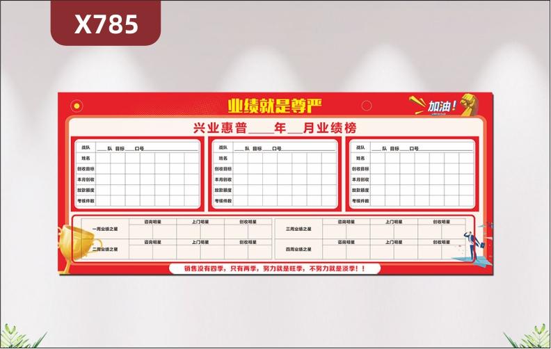 定制中国红业绩榜月月更新战队姓名口号目标创收目标本月创收考核件数业绩之星展示墙贴