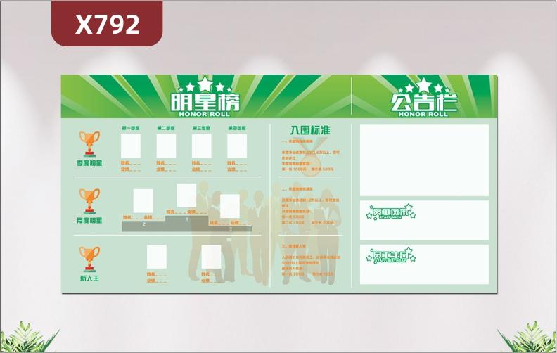 定制企业通用业绩榜季度明星月度明星新人王入围标准公告栏员工风采员工生日展示墙贴
