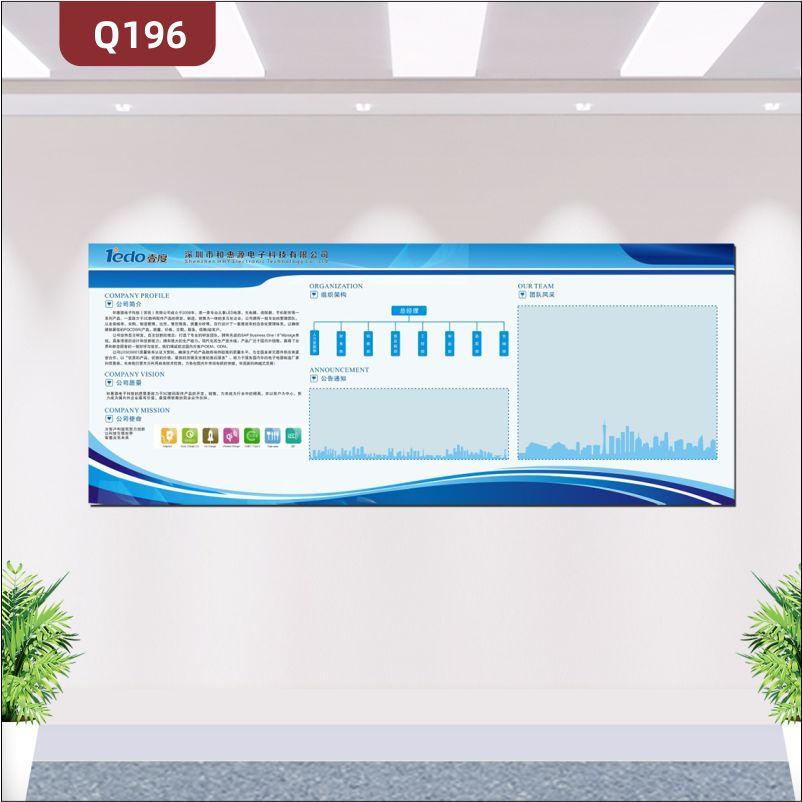 定制企业文化墙企业名称企业LOGO公司简介公司愿景公司使命组织架构通知团队风采展示墙贴