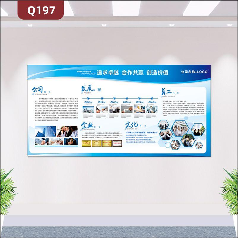 定制企业文化墙企业名称企业LOGO追求卓越合作共赢创造价值公司简介发展历程企业荣誉文化理念员工风采展示墙贴