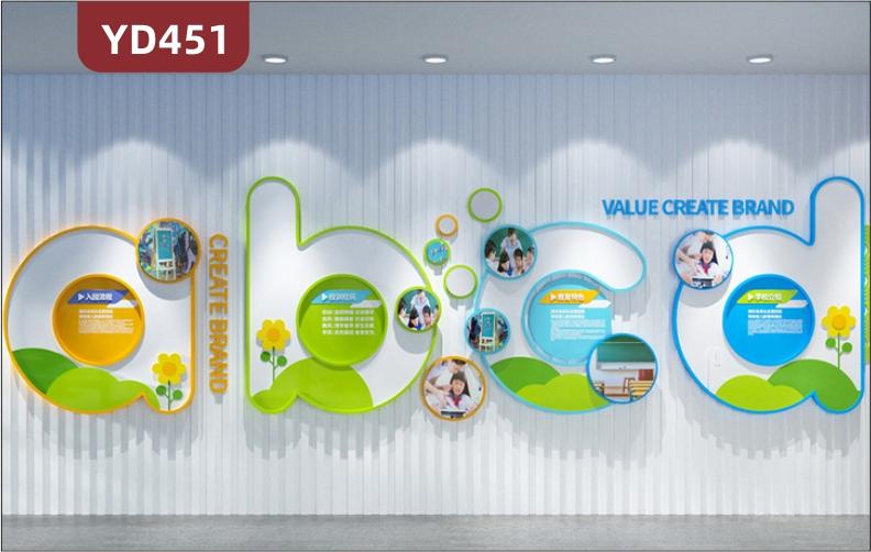 原创小清新设计文化墙彩色立体雕刻幼儿园入园流程校风校训教育特色