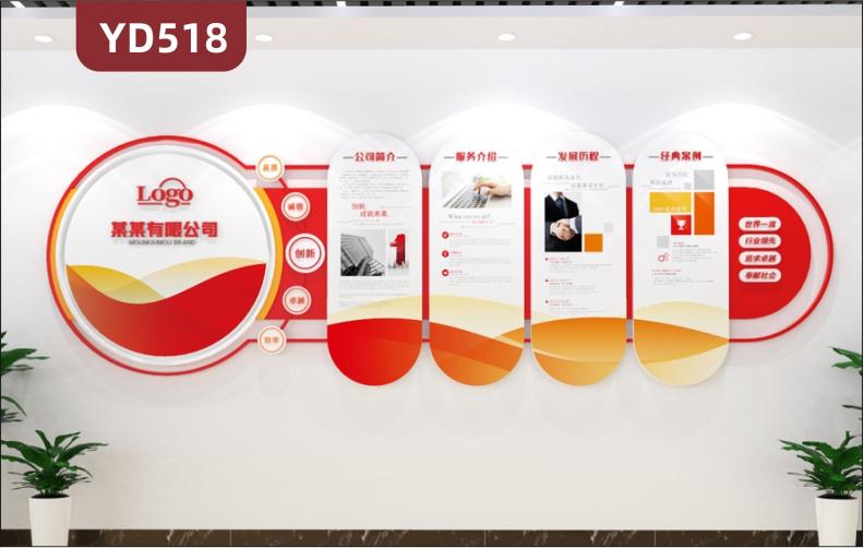 定制创意设计企业文化墙3D立体雕刻彩色PVC亚克力材质公司简介经典案例