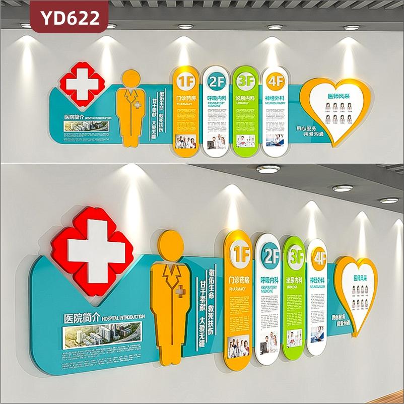 定制创意设计医院文化墙3D立体雕刻工艺PVC亚克力材质医院简介楼层索引