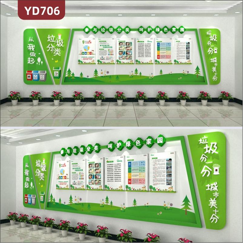 定制创意设计政府文化墙展厅装饰墙环保宣传墙3D立体亚克力雕刻工艺墙贴
