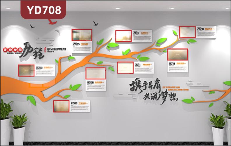 定制创意设计企业文化墙企业发展历程展示墙公司风采照片树3D立体雕刻