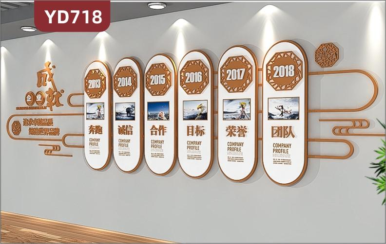 定制创意新中式设计企业文化墙过道走廊装饰墙企业发展历程展示墙