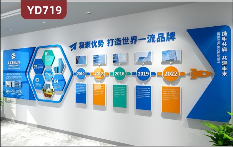 定制创意设计企业文化墙前台背景墙办公室装饰墙企业发展历程展示墙