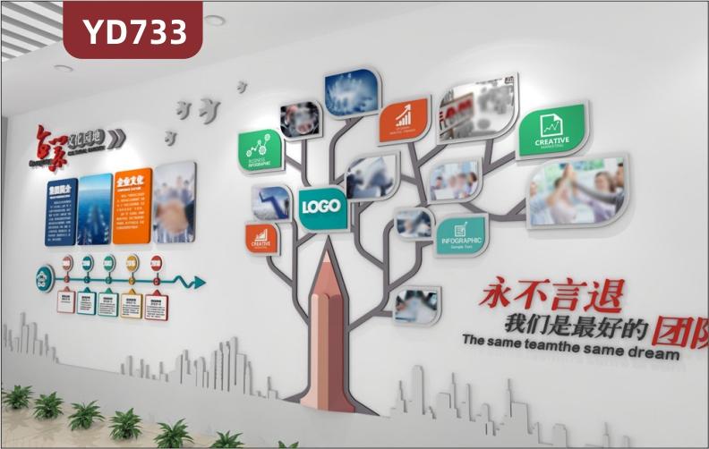 定制创意设计企业文化墙公司发展历程展示墙公司风采照片树装饰墙