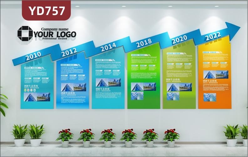 定制创意设计公司文化墙公司发展历程展示墙走廊装饰墙立体雕刻工艺