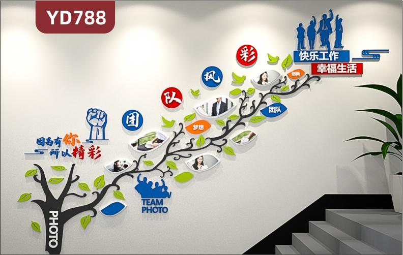 定制创意设计公司文化墙团队风采展示照片墙走廊装饰墙办公室背景墙