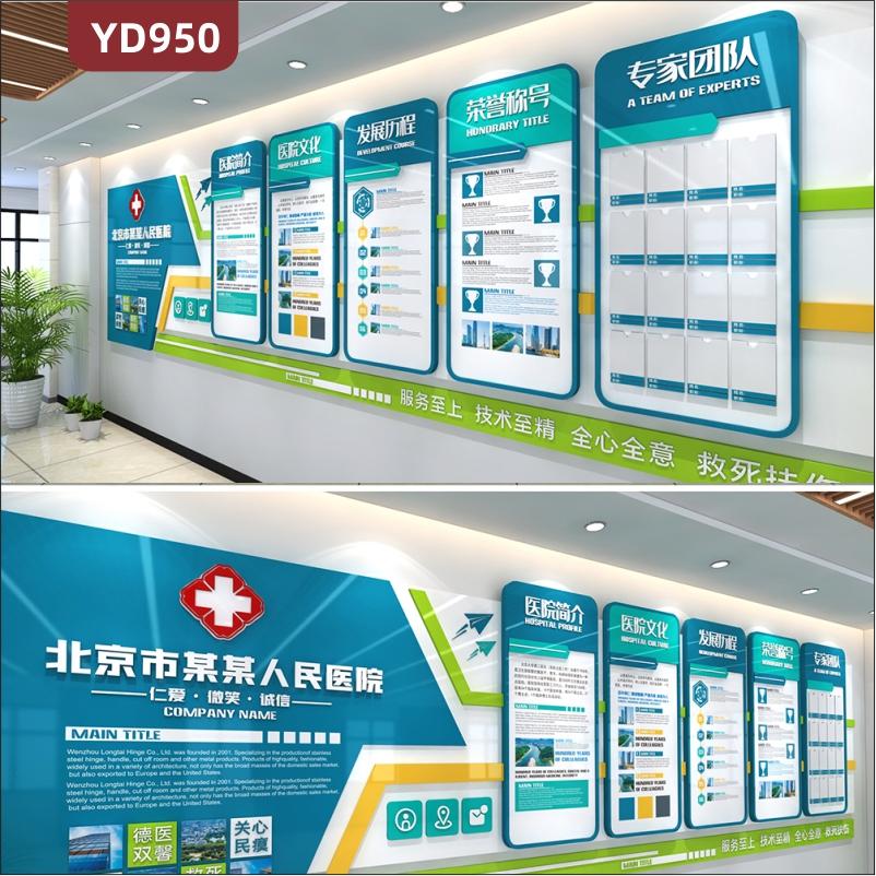 人民医院简介展板医院文化宣传墙专家团队照片墙团队荣誉展示墙贴