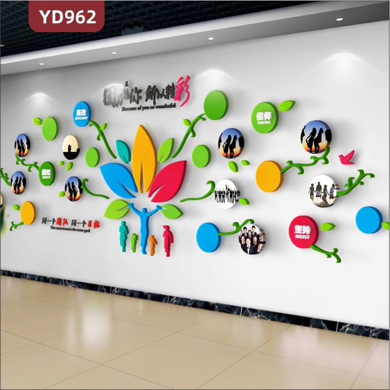 企业文化墙前台卡通装饰墙走廊立体花朵绽放形状团队风采照片展示墙