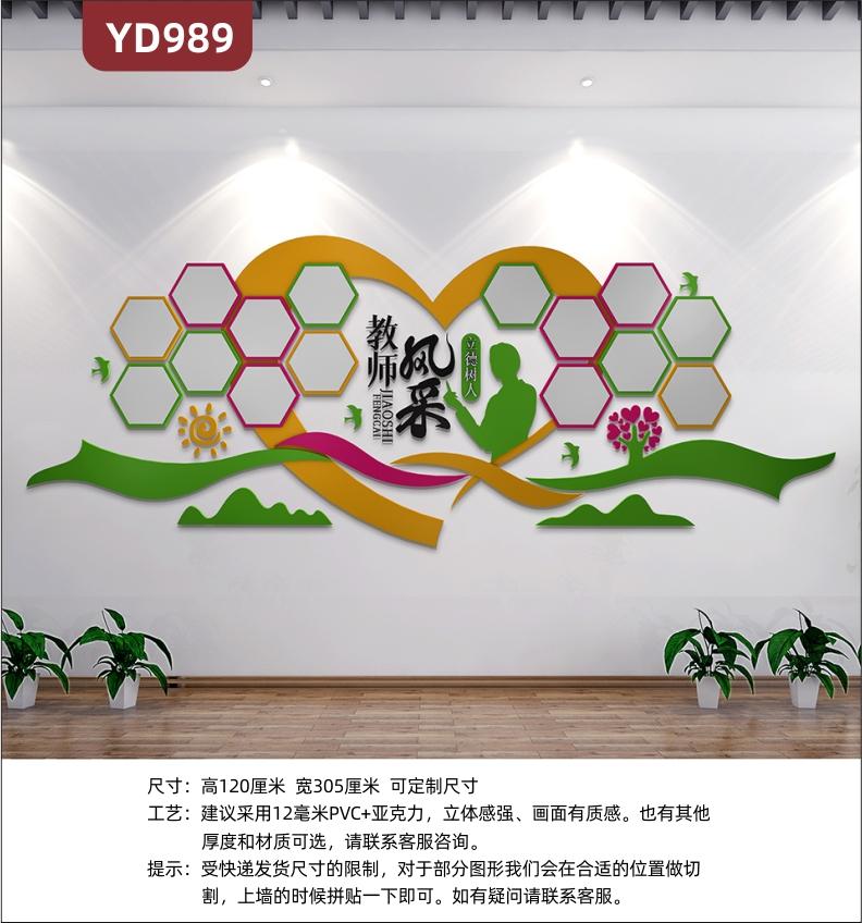 学校文化墙教育机构前台装饰墙走廊教师风采照片墙班级励志挂画展板