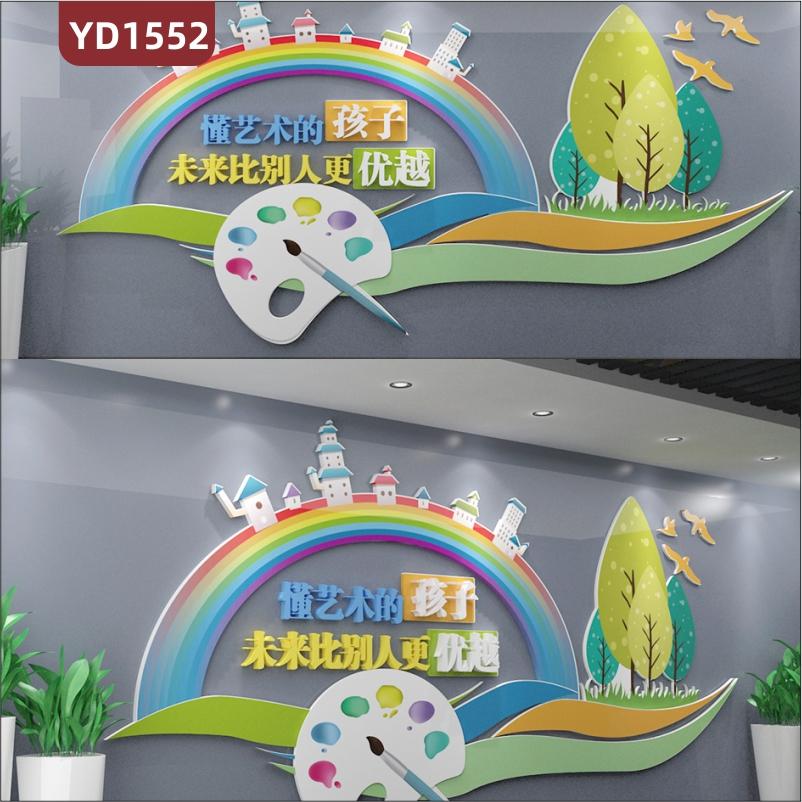 美术绘画培训学校文化墙过道学习理念宣传展示墙教室立体卡通装饰墙